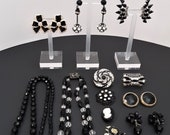 Great Lot of Vintage Black & Rhinestone Jewelry Brooches Pins Necklaces Earrings