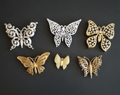 Vintage Lot 6 Designer Butterfly Brooches Pins Trifari Monet Miriam Haskell