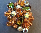 Vintage Brooch Pin Amber Glass Beads Watermelon & AB Rhinestones Juliana?