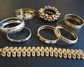 Fun Lot of 8 Vintage to Contemporary Bracelets Bangle Clamper Link