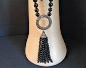 Vintage Art Deco Black Gl...