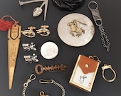 Vintage Lot of Men's Jewelry & Accessories Watch Fob Key Chains Tobacco Lid