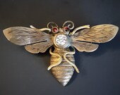 RARE Antique Victorian Insect Bug Gold Filled Brooch Pin with Garnet Eyes
