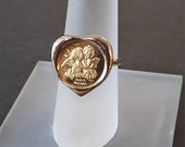 14K Gold Cherubs Coin Rin...