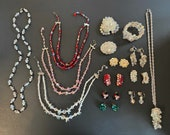 Fun Lot Of Vintage AB Crystal Jewelry Necklaces Earrings Brooches Bracelet