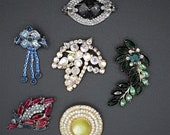 Lot of 6 Lovely Vintage Rhinestone Brooches Pins Unsigned Designer Quality