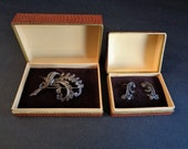Lovely Vintage West Germany Marcasite Brooch Pin & Earrings Set in Boxes