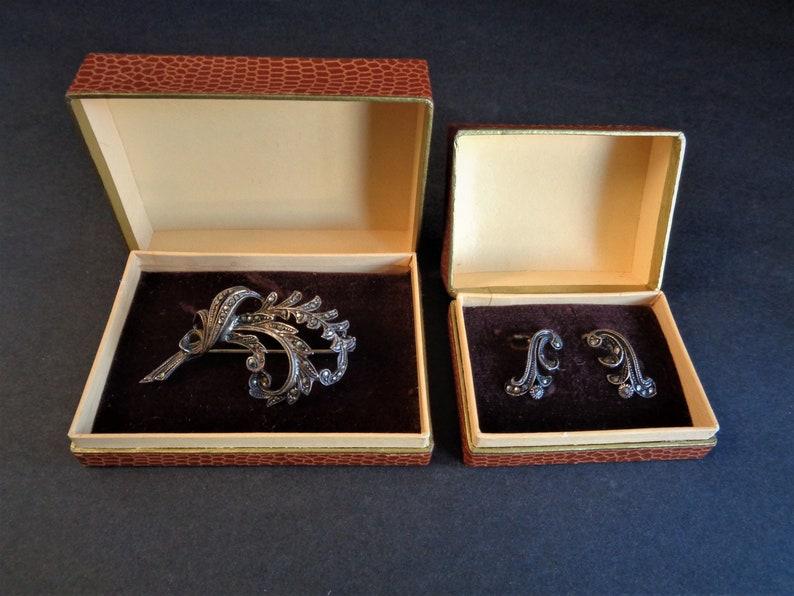 Lovely Vintage West Germany Marcasite Brooch Pin & Earrings image 0