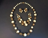 Vintage Signed Vendome Necklace Bracelet and  Earrrings Gold & Cream Glass Beads