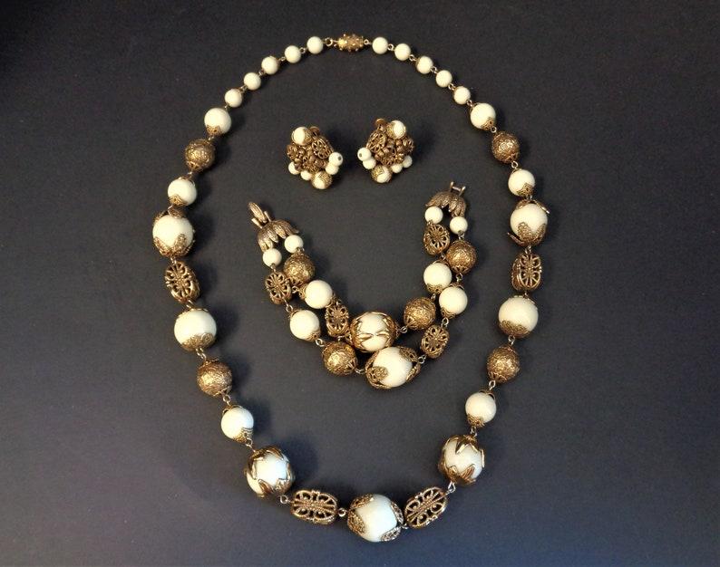 Vintage Signed Vendome Necklace Bracelet and  Earrrings Gold & image 0