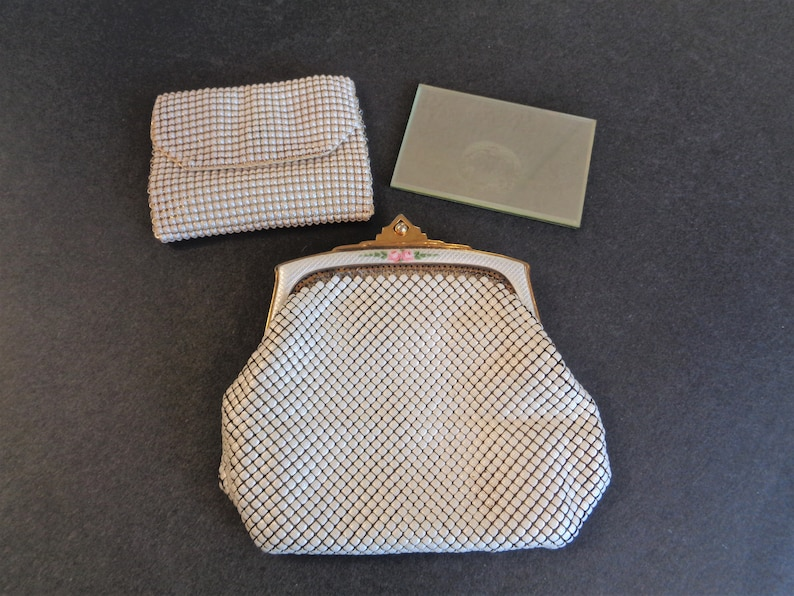 Vintage White Enamel Mesh Purse Clutch Handbag with Enamel image 0