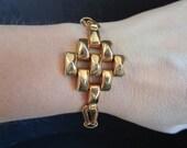 Vintage Signed Karu Gold Tone Mid Century Bracelet 8 Inch Length