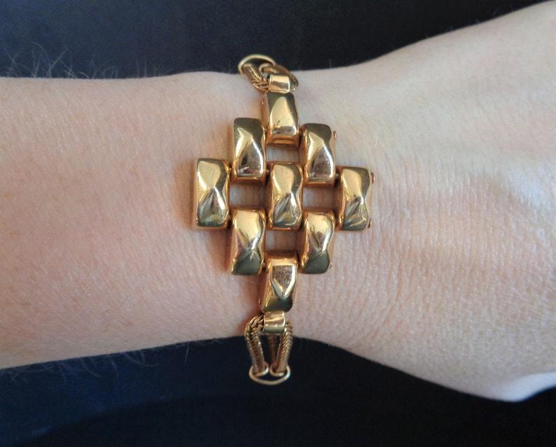 Vintage Signed Karu Gold Tone Mid Century Bracelet 8 Inch image 0