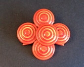 Vintage Signed Original by Robert Mid Century Orange Enamel Circles Brooch Pin