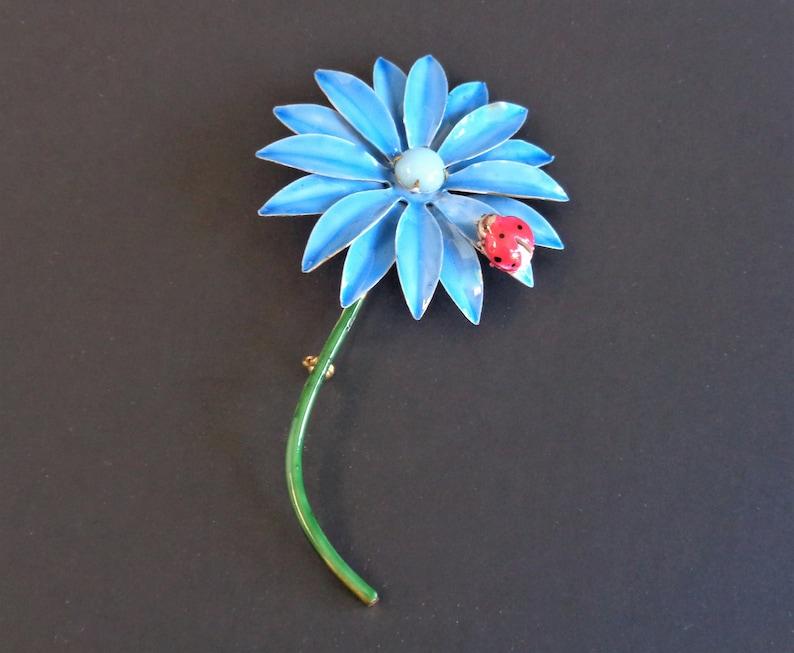 Vintage Original by Robert Enamel Turquoise Flower Pin Brooch image 0