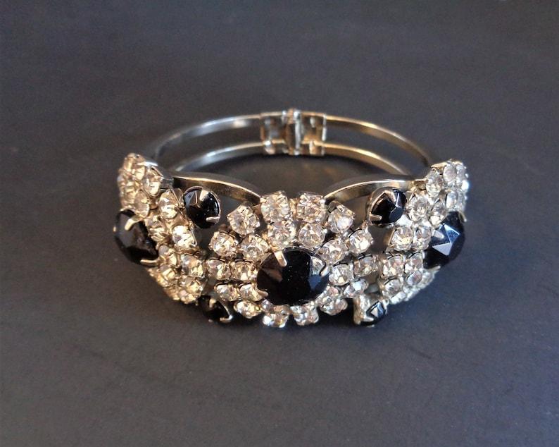 Beautiful Vintage Juliana Black Glass & Clear Rhinestone image 0