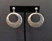 Vintage Signed Taxco CET Sterling Silver Dangle Earrings Alpaca Screw Back
