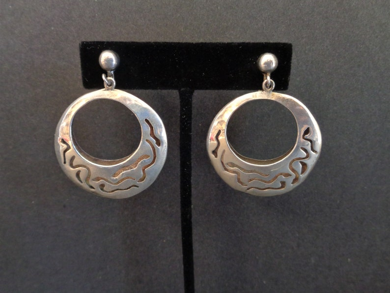 Vintage Signed Taxco CET Sterling Silver Dangle Earrings image 0