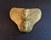 Antique Art Nouveau Victorian Egyptian Revival Gold Tone Sphinx Belt Buckle