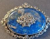 Fantastic Vintage Art Deco Lapis & Marcasite Sterling Silver Brooch Pin