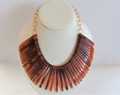 Vintage Hand-cut Tortoise Shell Bakelite Necklace with Celluloid Chain