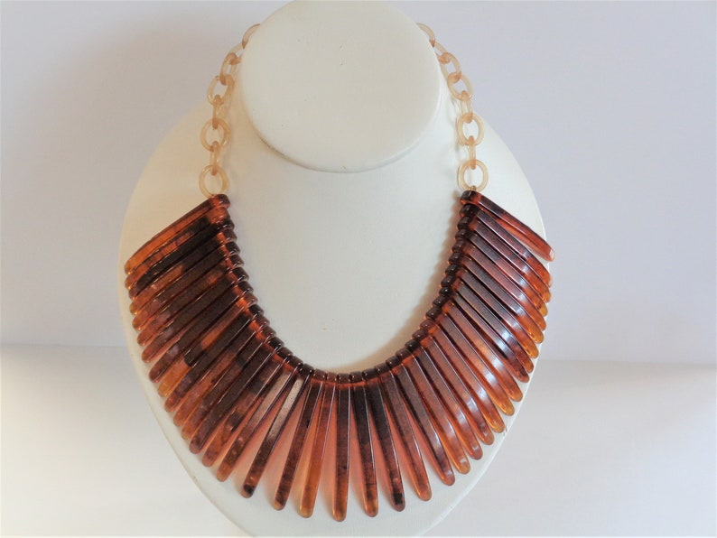 Vintage Hand-cut Tortoise Shell Bakelite Necklace with image 0