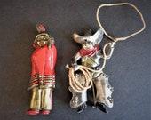 Rare Vintage Cowboy Lasso & Native American Indian Enamel Novelty Pins Brooches