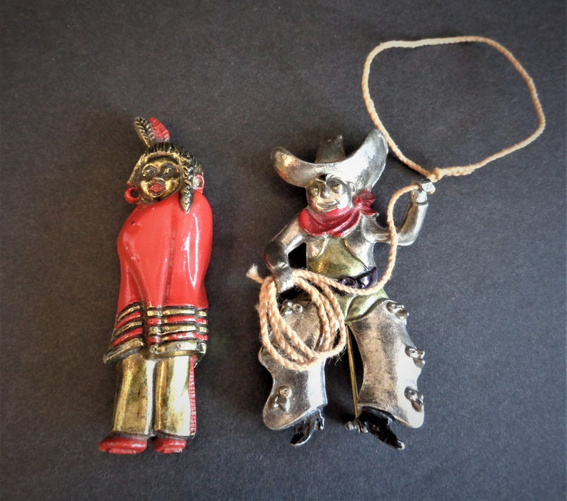 Rare Vintage Cowboy Lasso & Native American Indian Enamel image 0