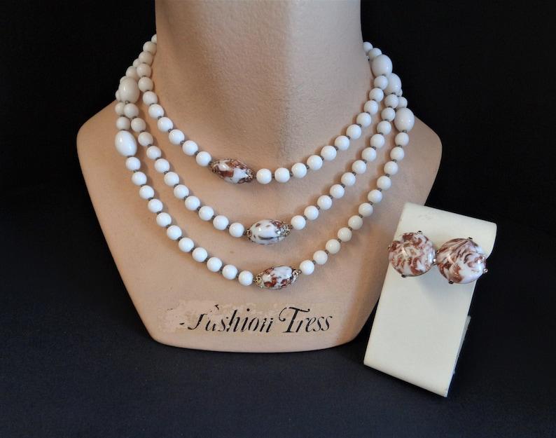 Vintage TRIFARI White & Venetian Glass Bead 52 Inch Necklace image 0
