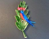 Vintage Signed Original by Robert Large Bird on Leaf Enamel Brooch Pin
