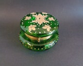Vintage Moser Jewelry Box Casket Hinged in Green with Gold Enamel Decoration