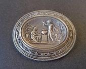 Rare Antique Victorian Etruscan Mythology Silver Hair Locket Brooch Pendant