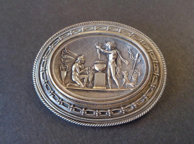 Rare Antique Victorian Etruscan Mythology Silver Hair Locket image 0