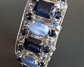 Vintage Chunky Blue Moonstone Rhinestone Bracelet Designer Style Unsigned