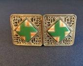 Antique Art Deco Czech Czechoslovakia Green Enamel & Filigree Belt Buckle