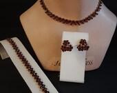 Vintage Dark Red Rhinestone Choker Necklace Bracelet and Earrings Set