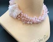 Vintage Signed Carlisle Rose Quartz Multi Strand Necklace with Flower Closure