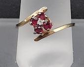 Vintage Signed SRB 14K Yellow Gold Ruby & Diamond Ring Size 6.75