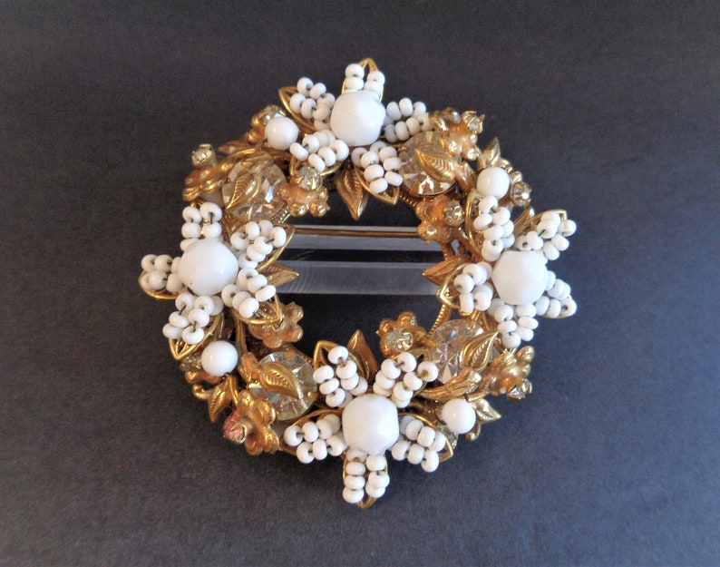 Vintage Original by Robert White Beaded & Molded Glass Brooch image 0
