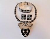 Rare Vintage Margot de Taxco Enamel Sterling Necklace Brooch, Bracelet & Earrings Set