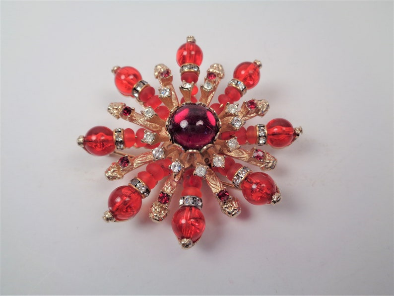Vintage Vendome Red Brooch Pin and Pendant Combination image 0