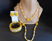 Vintage Signed Miriam Haskell Yellow Flower Glass Bracelet Necklace & Earrings