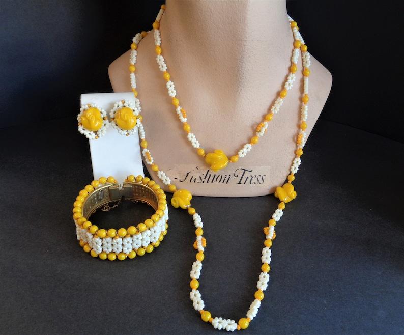 Vintage Signed Miriam Haskell Yellow Flower Glass Bracelet image 0