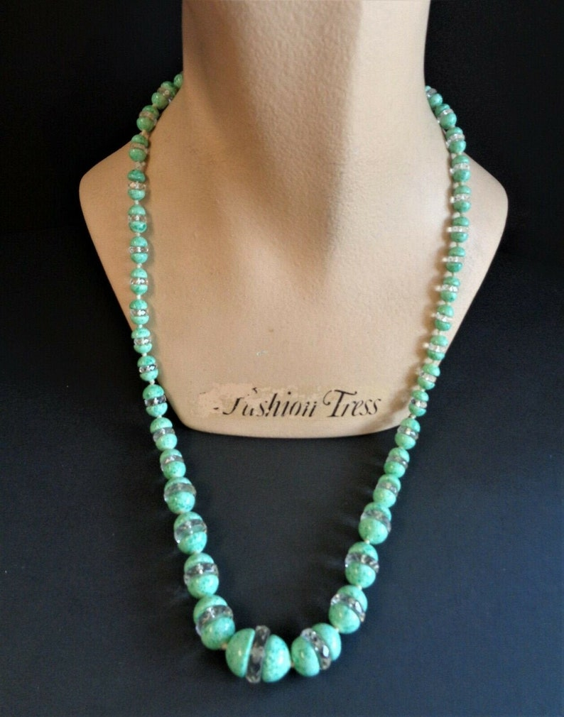 Gorgeous Vintage Czech Speckled Green Glass & Crystal 28 image 0