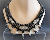 Fantastic Vintage Napier Art Deco Revival 3 Strand Black Bead Necklace