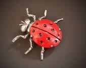 Vintage Signed Beau Sterling Silver Red Enamel Lady Bug Brooch Pin