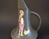 Teplitz Stellmacher Austrian Amphora Pottery Boy Child with Chick Ewer Pitcher