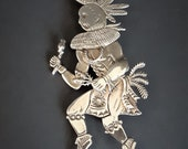 Freddy Charley Navajo Sterling Silver Kokopelli Brooch Pin Pendant for Necklace