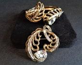 Vintage Signed Coro Craft Gold Tone Rhinestone Bracelet & Brooch