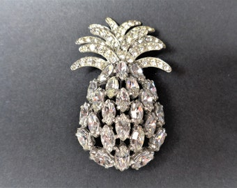 Spectacular Vintage Schiaparelli Almost 3 inch Rhinestone Pineapple Pin.